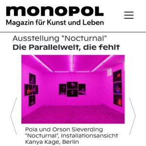 Monopol über die aktuelle Ausstellung von Pola und Orson Sieverding